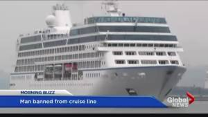 Man banned from cruise line after giving interview.