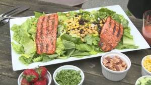 BBQ Tips: Grilled Salmon Salad with Strawberry Vinaigrette