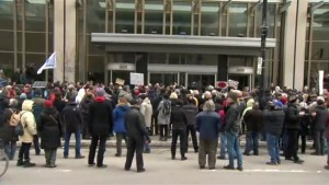 Protesters rally outside Bombardier HQ over CEO pay scandal