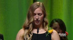 Jaxon Joseph's sister reads heartwarming speech