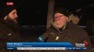 Freezing father outdoor fundraiser for Stollery Children's Hospital