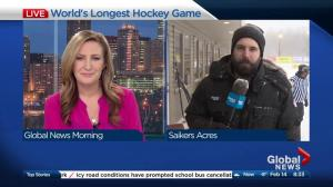 Blowing snow creating challenges for World's Longest Hockey Game