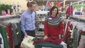 Making ugly sweaters at Value Village