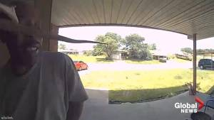 Doorbell cam captures moment man is bitten in the face by a snake