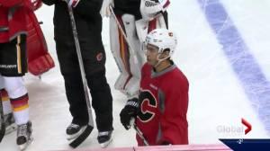 Johnny Gaudreau returns to Calgary Flames (02:42)