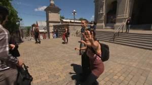 Protestors interrupt Global News reporter during live hit on Quebec protests