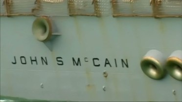 Image result for uss john mccain with tarp over name