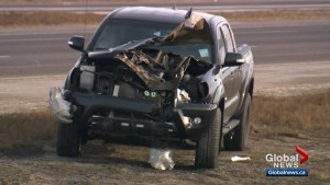 Calgary police investigating 4-vehicle collision on Stoney Trail after 2 tires fly off semi-truck