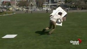 Activists steal signs at Victoria SOGI rally