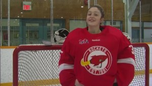 Girl goalie gets first win in boys' league