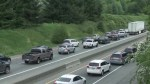 Crash creates traffic chaos on Highway 1 near Abbotsford
