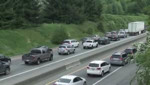 Crash creates traffic chaos on Highway 1 near Abbotsford