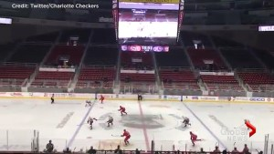 Hockey teams play game in empty rink
