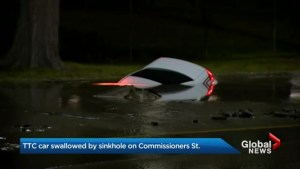 Giant sinkhole swallows car in the Portlands