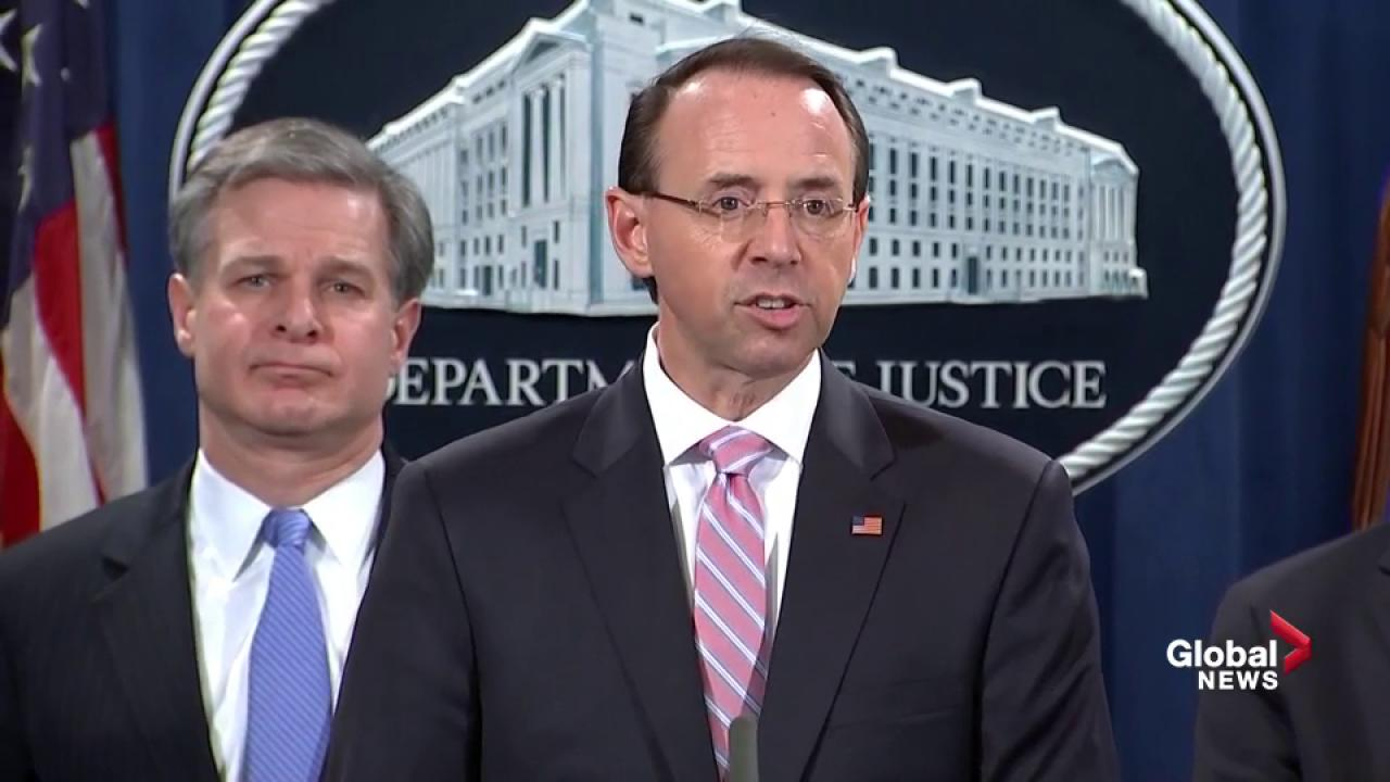 Rod Rosenstein, Chris Wray announce indictment of Chinese hackers