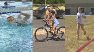 Kids try triathalon in Kelowna