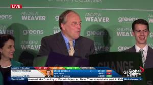 BC Election: Green Party leader Andrew Weaver hails 'historic night for B.C.'