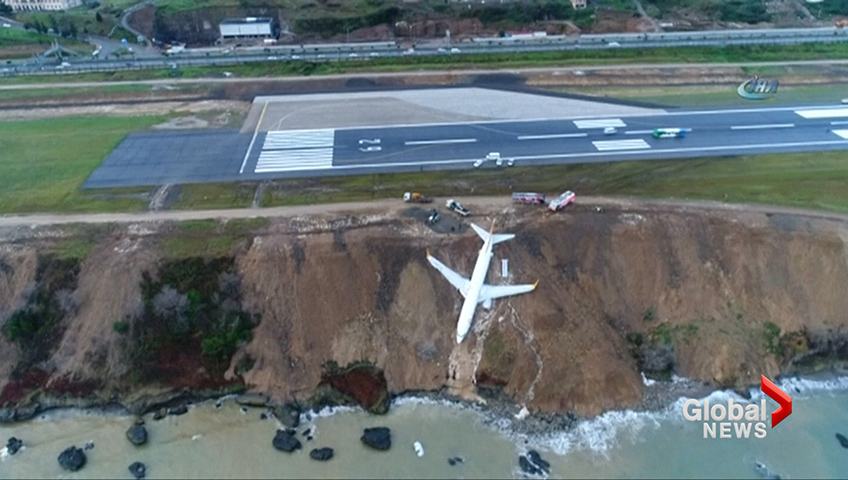 Plane skids off runway in Turkey, barely misses sliding into sea