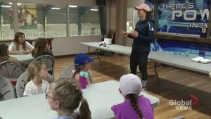 2-time Olympic gold medallist stops by camp to inspire young girls (01:40)