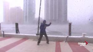 Reporter braves Hurricane Irma near ferocious Miami River