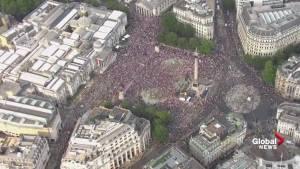 Massive crowd of anti-Trump protesters gather at London's Trafalgar Square