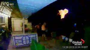 Neighbour's camera catches home explode in London, Ont. after alleged impaired driver hits gas line