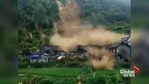 Dramatic video captures China mudslides crushing homes