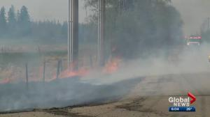 Wildfire in Strathcona County being held but not under control