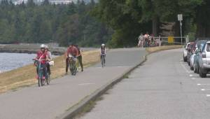 A driver illegally cruises along the bicycle path near Sunset Beach in Vancouver