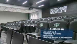Saskatchewan Roughriders dressing room at new Mosaic Stadium