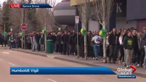 Spruce Grove vigil honours players who died in Humboldt Broncos bus crash