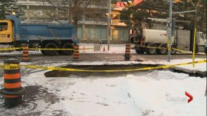 Large sinkhole in North York causes problems for commuters