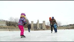 Ideal skating conditions at Peterborough Lift Lock