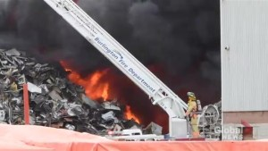 Firefighters tackling scrap pile blaze at Burlington metal recycling facility
