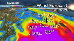 Special weather statement for Saskatoon: 80 km/h gusts, freezing rain