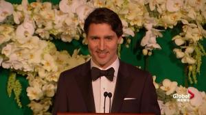 Justin Trudeau delivers speech at state dinner in his honour, cracks joke involving Justin Bieber
