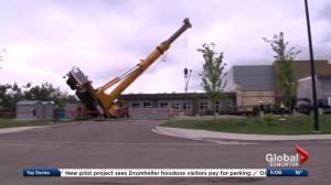 Construction crane tips over in Edmonton's Windermere neighbourhood
