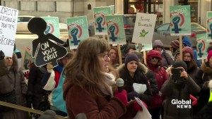 International Women's Day protest outside Montreal courthouse for Gilbert Rozon hearing
