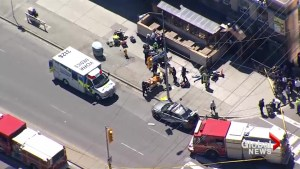 Aerial video shows multiple scenes where van struck pedestrians in Toronto attack