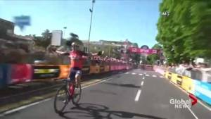 Cyclist makes mistake, loses race horribly
