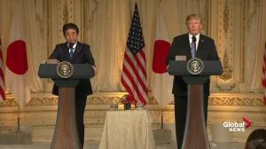 Trump, Abe says U.S. and Japan prisoners in North Korea important