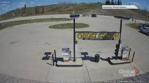 Surveillance video captures gas and dash, serious crash at Alberta service station