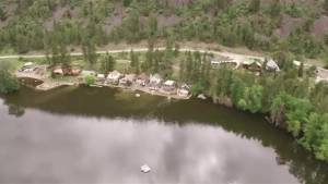 Drone video of Sandbag Wall Protecting Houses from Twin Lakes Flooding