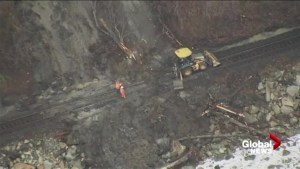 Aerial footage of mudslide that stopped Amtrak train from reaching Vancouver