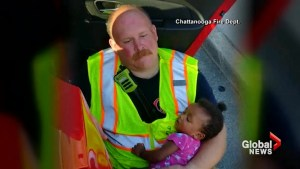 Photo of firefighter comforting small child goes viral