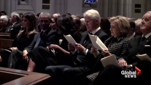 Obamas, Clintons, Mulroneys and Melania Trump sit together at Barbara Bush's funeral
