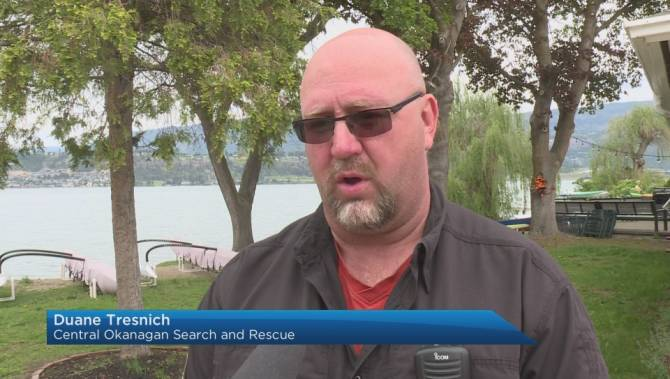 Crews continue search for missing kayaker on Okanagan Lake, urge safety