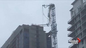 Global News reporter ventures out into Hurricane Irma to see collapsed crane