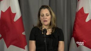 Chrystia Freeland expresses condolences to Kirk Woodman family