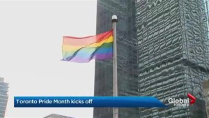Rainbow colours are flying high at Toronto city hall as the city gears up for pride month